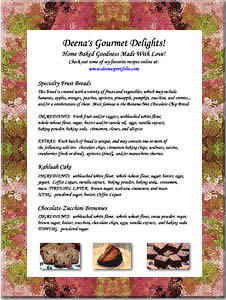 Deena's Gourmet Delights! Sample Menu